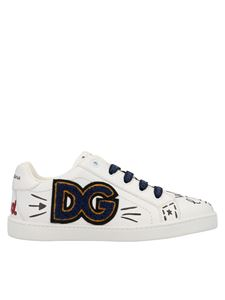 Dolce & Gabbana Jr - Hand-painted sneakers in white