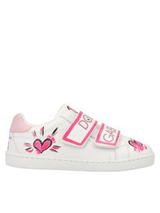 Dolce & Gabbana Jr - Hand painted sneakers in white and pink