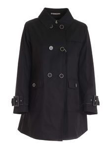 Herno - Cotton double-breasted trench coat in black