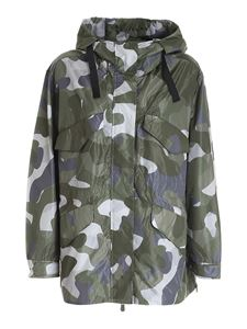 Save the duck - Logo camouflage jacket in green and grey