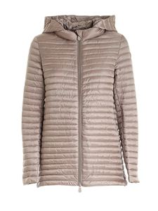 Save the duck - Logo patch puffer jacket in brown