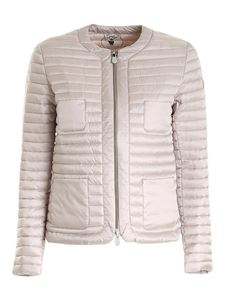 Save the duck - Logo patch puffer jacket in dove grey