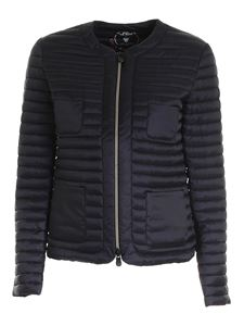 Save the duck - Logo patch puffer jacket in black