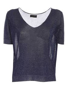 Roberto Collina - Lamé knit T-shirt in blue