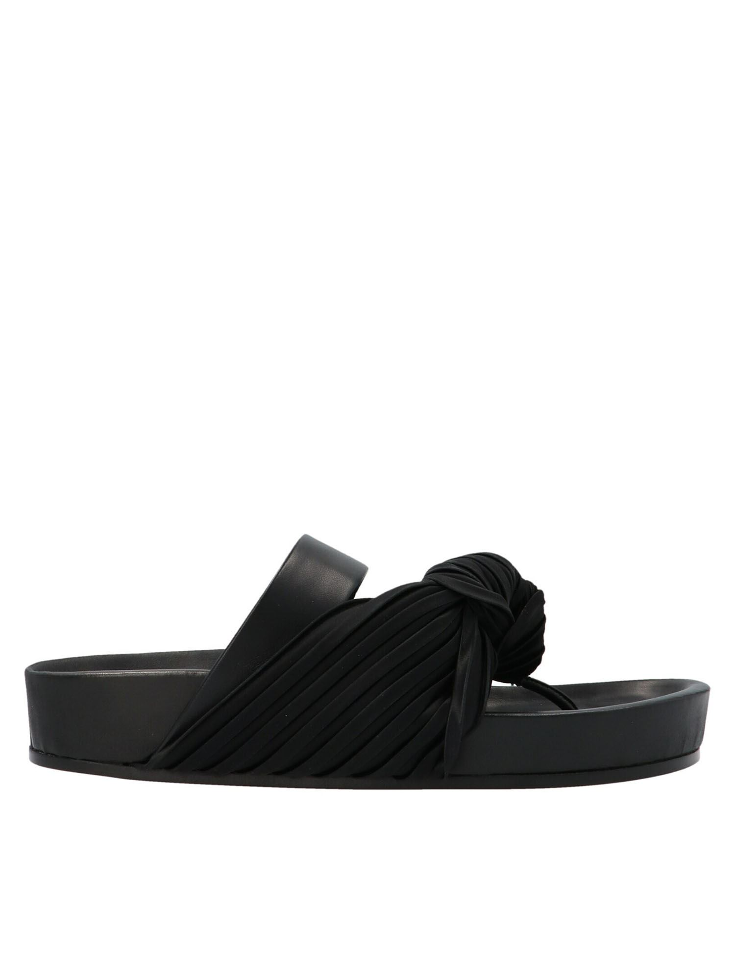 Jil Sander Leathers PLEATED FABRIC INSERT THONG SLIDES IN BLACK