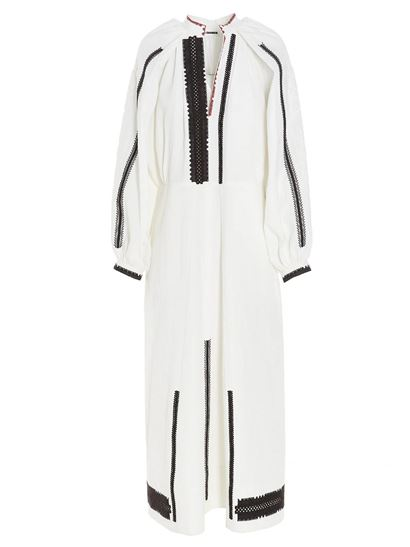 Jil Sander - Contrasting embroidery dress in white