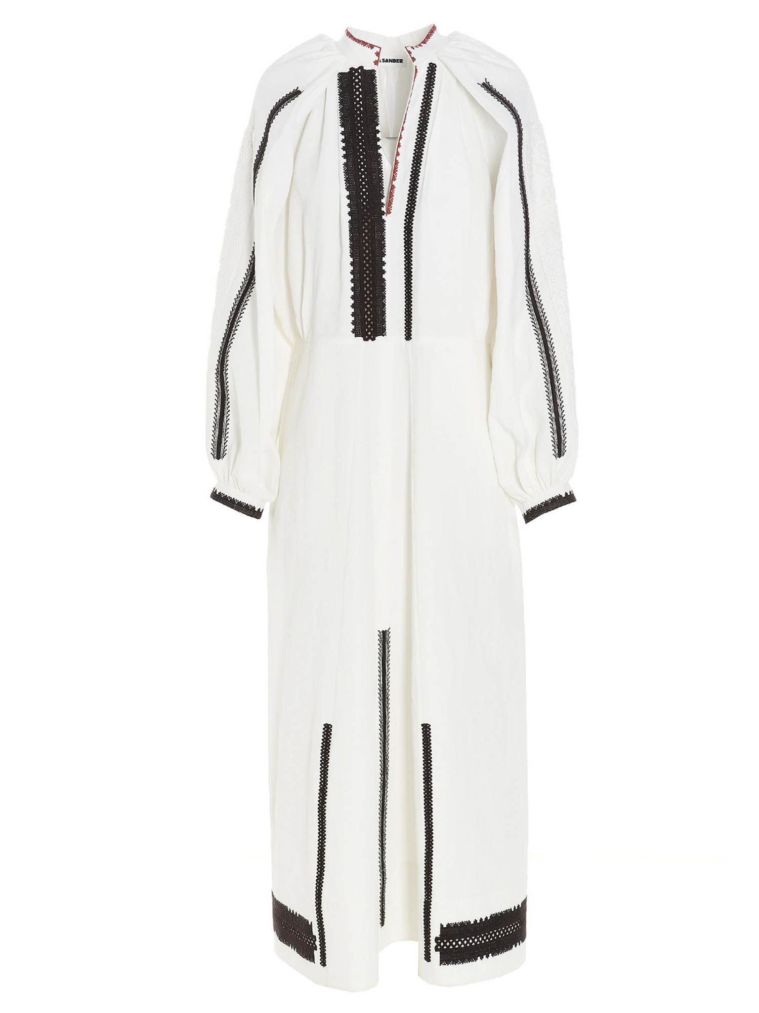 Jil Sander Linens CONTRASTING EMBROIDERY DRESS IN WHITE