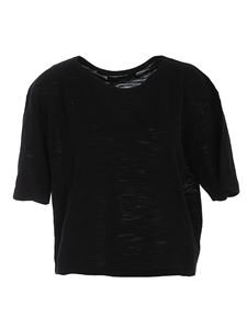 360 Cashmere - Short sleeve boxty T-shirt in black