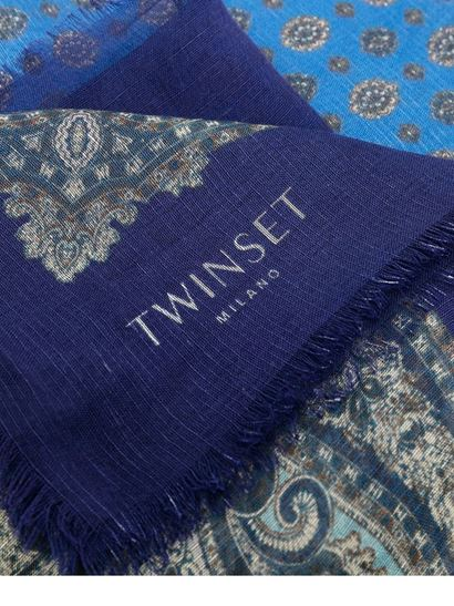 TWINSET - Paisley print scarf in blue and light blue