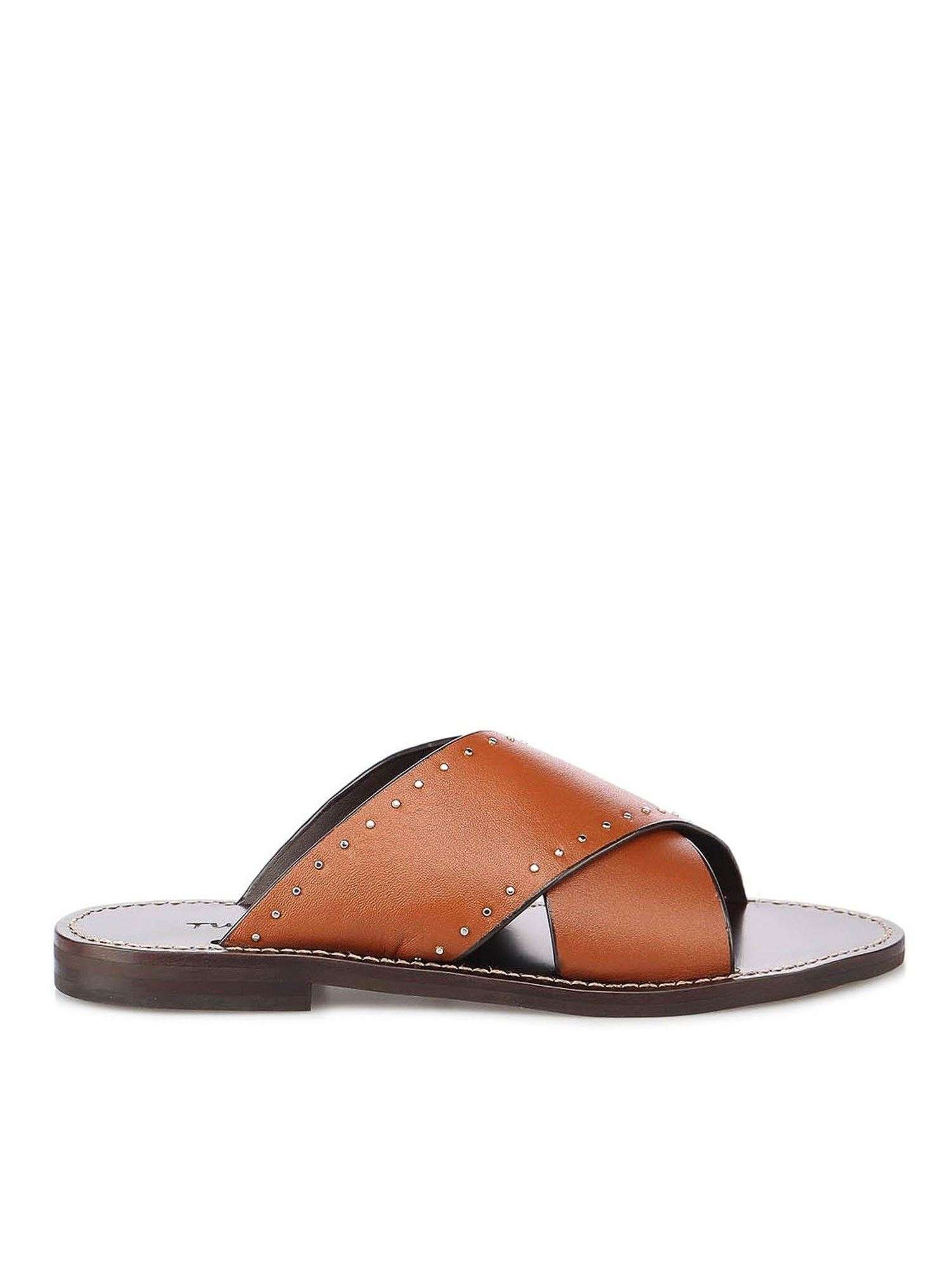 Twinset STUDDED LEATHER SANDALS IN TAN COLOR