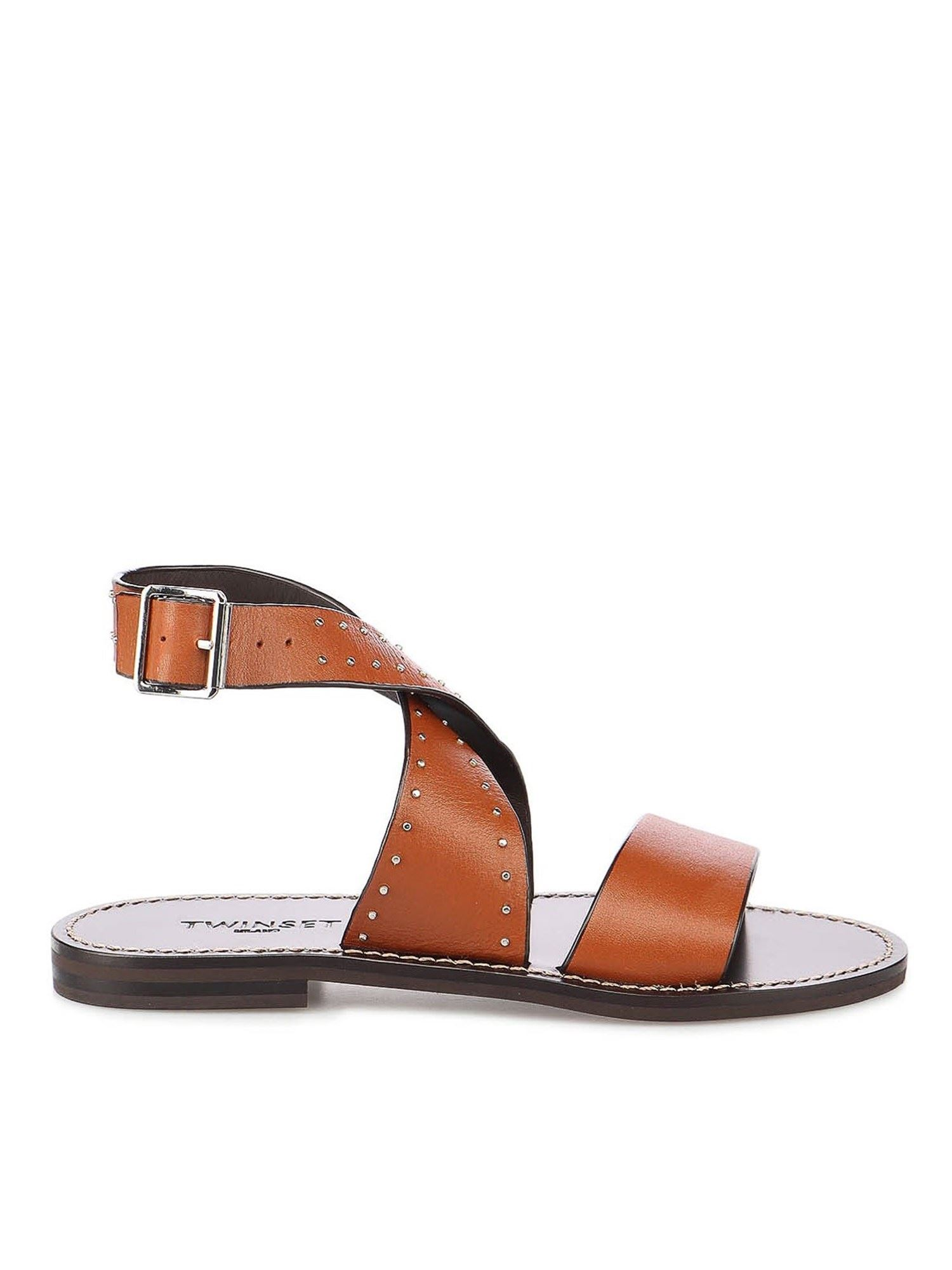 Twinset STUDDED LEATHER SANDALS IN CUOIO COLOR