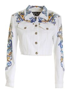 Versace Jeans Couture - Cameo print crop jacket in white