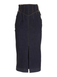Versace Jeans Couture - Blue denim skirt with vent