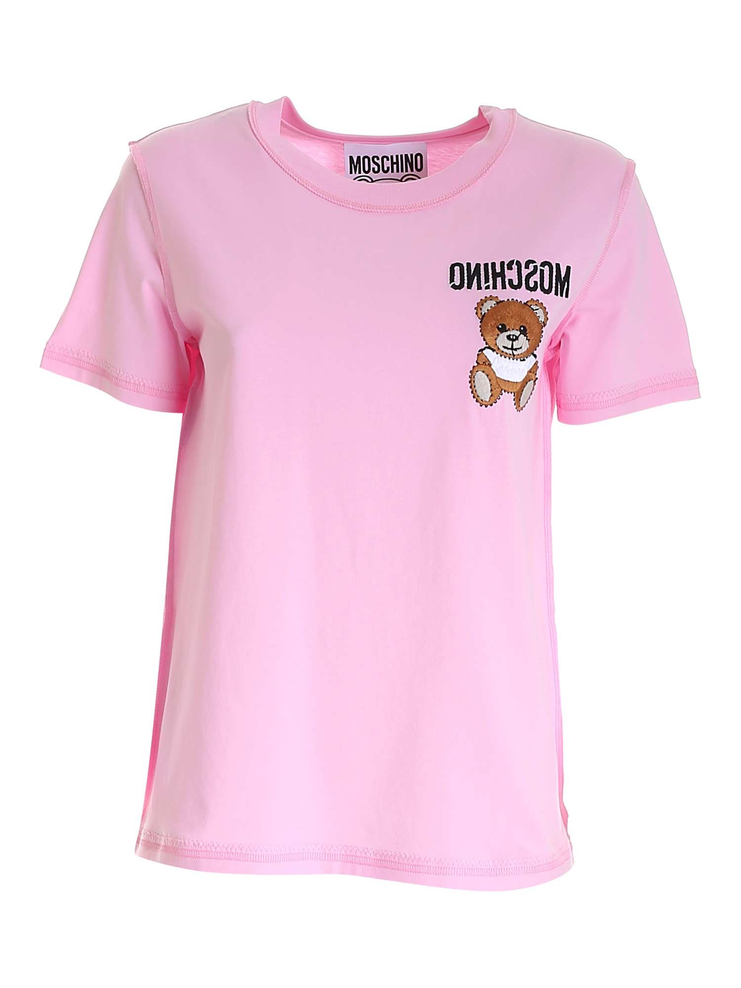 Moschino TEDDY BEAR EMBROIDERY T-SHIRT IN PINK