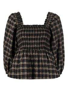 Ganni - Checked puffer sleeve blouse in brown