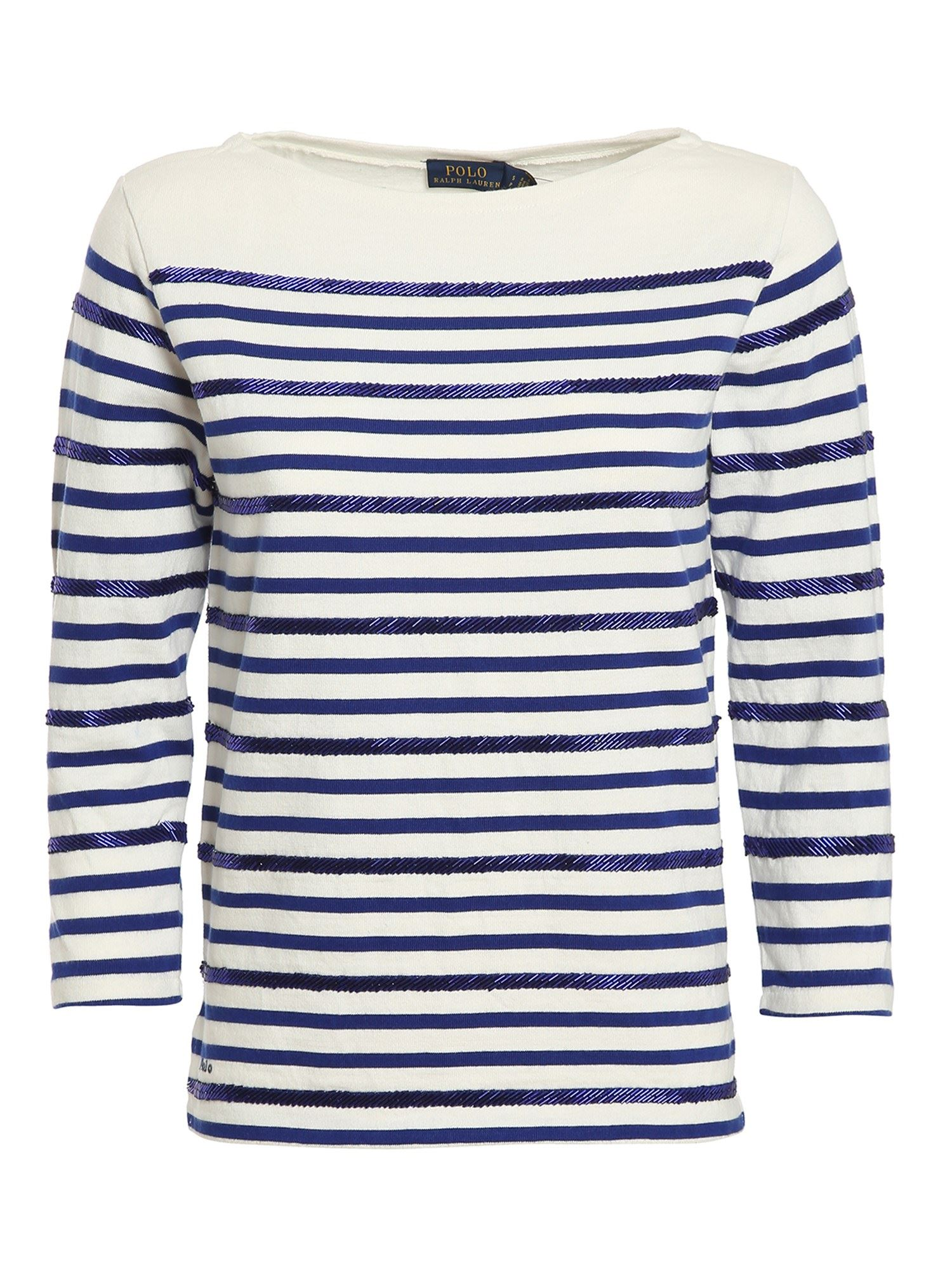 Polo Ralph Lauren Cottons POLO RALPH LAUREN EMBELLISHED STRIPED JUMPER IN WHITE AND BLUE