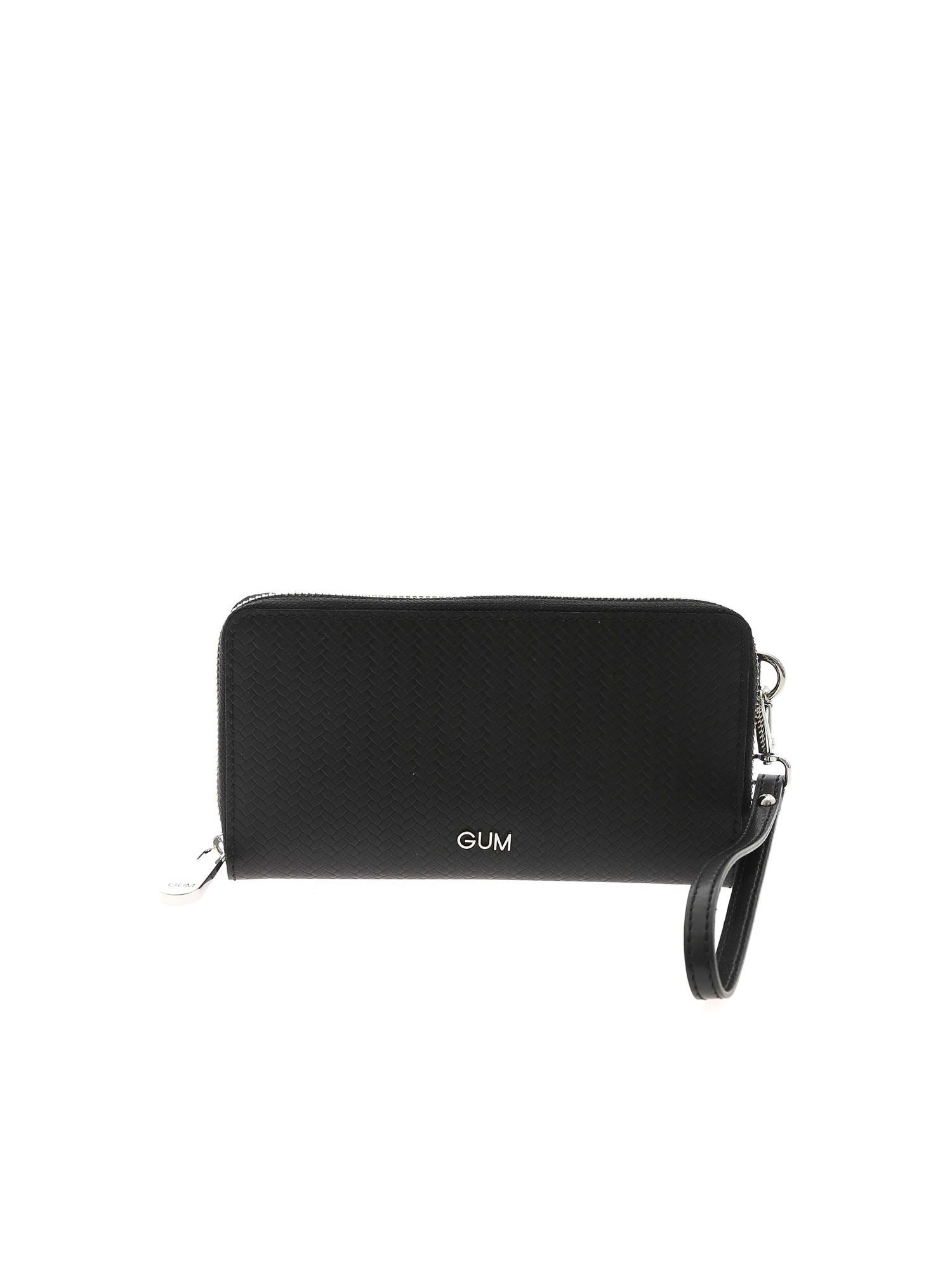 Gum Gianni Chiarini Metallic Logo Wallet In Black