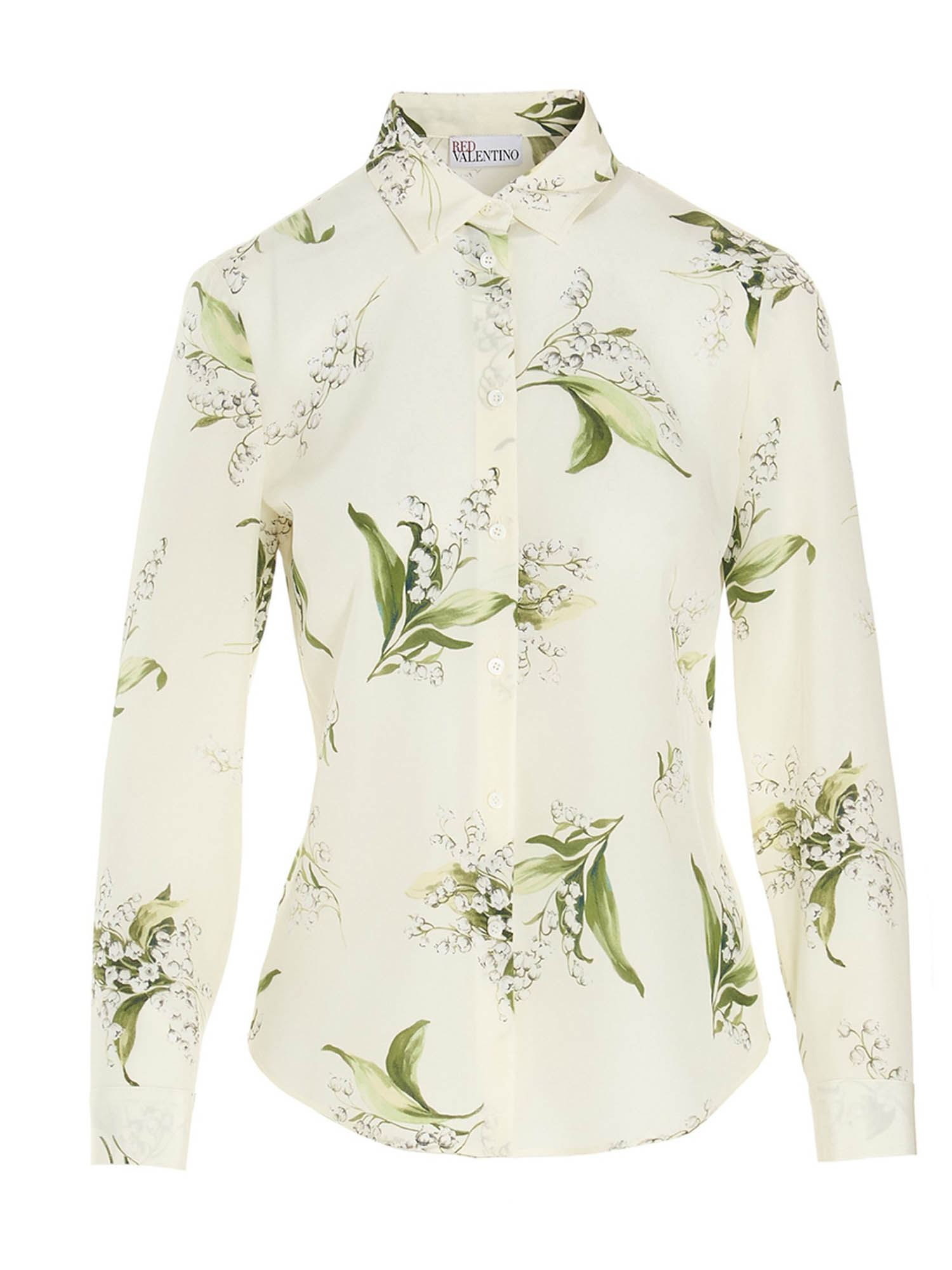 Red Valentino FLORAL PRINT SHIRT IN WHITE