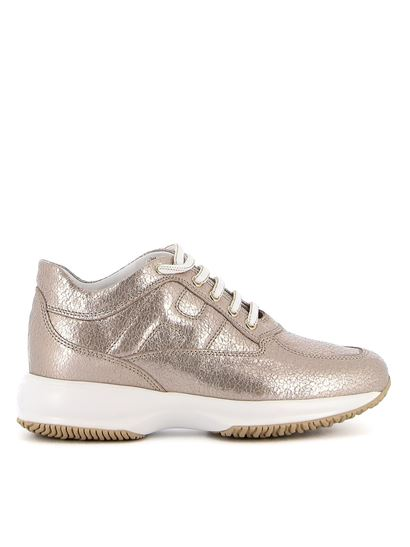 Interactive rose gold sneakers