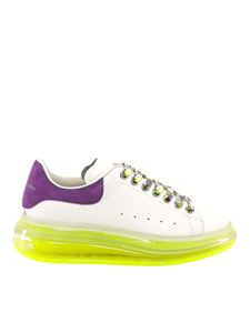 Alexander McQueen - Neon sole leather sneakers in white
