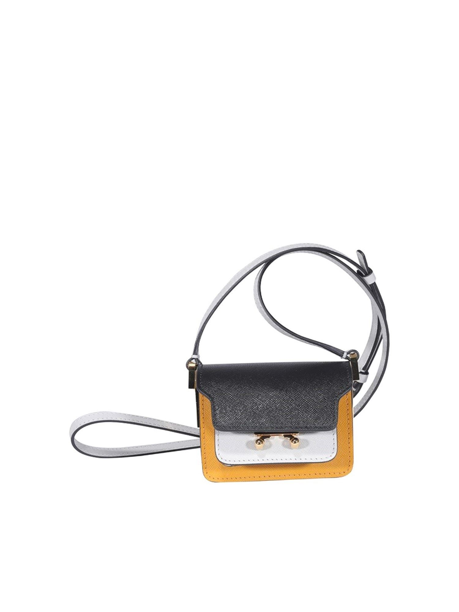 Marni Leathers TRUNK MINI BAG IN BLUE YELLOW AND WHITE