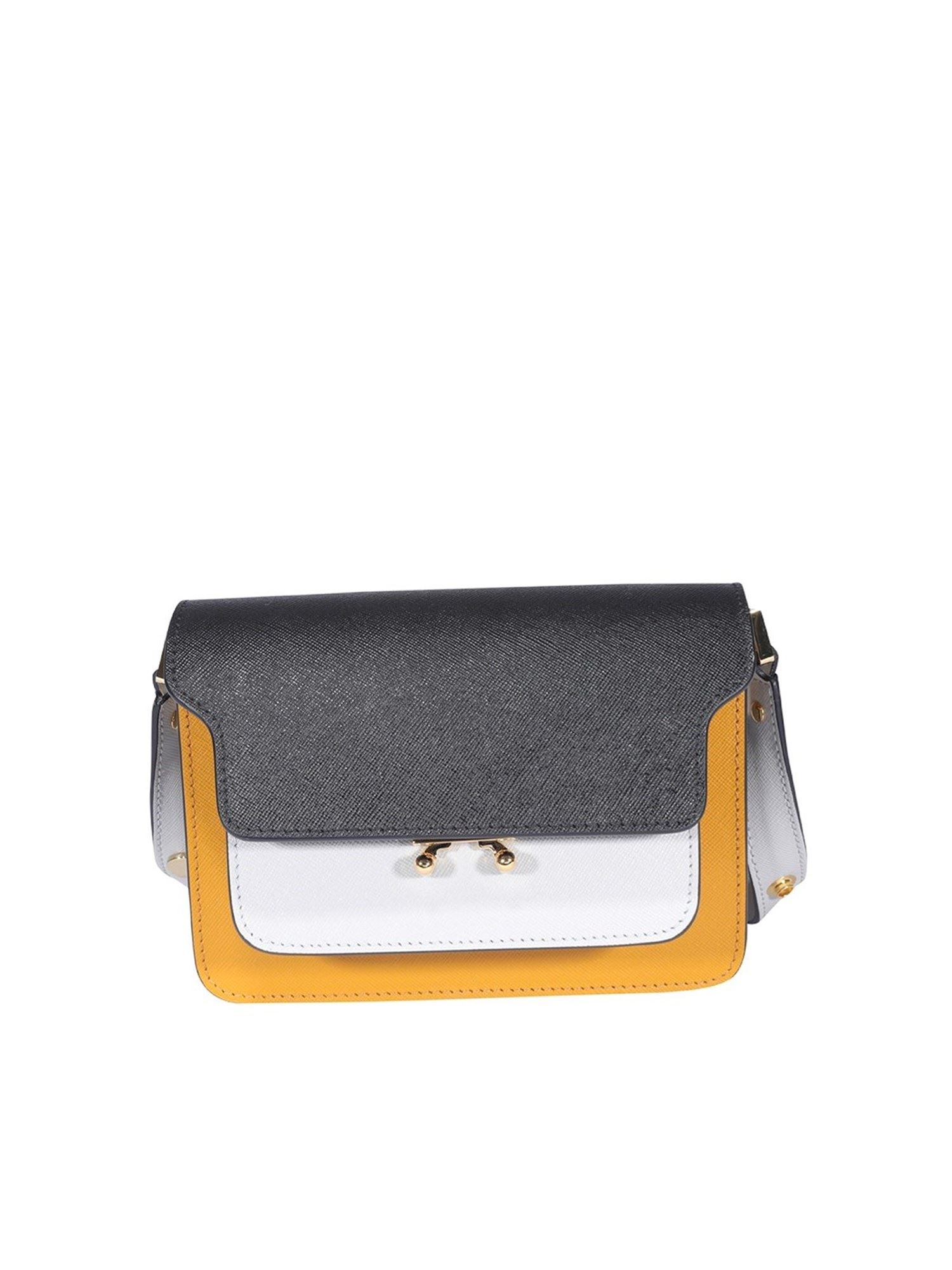 Marni TRUNK BAG IN BLACK YELLOW AND WHITE