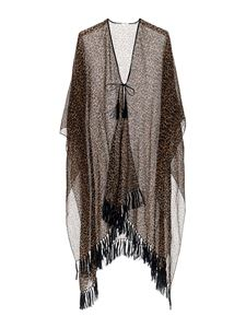 Saint Laurent - Leopard printed poncho in brown