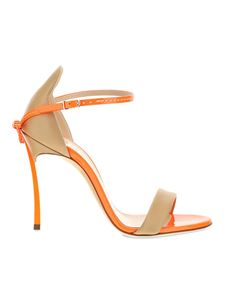 Casadei - Rear bow sandals in beige and orange