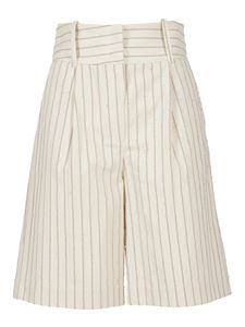 Federica Tosi - Pinstriped cotton blend shorts in Panna color