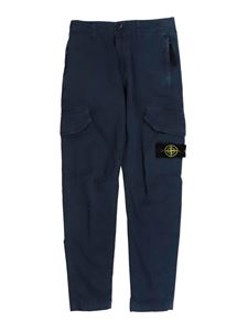 Stone Island Junior - Cotton cargo pants in blue