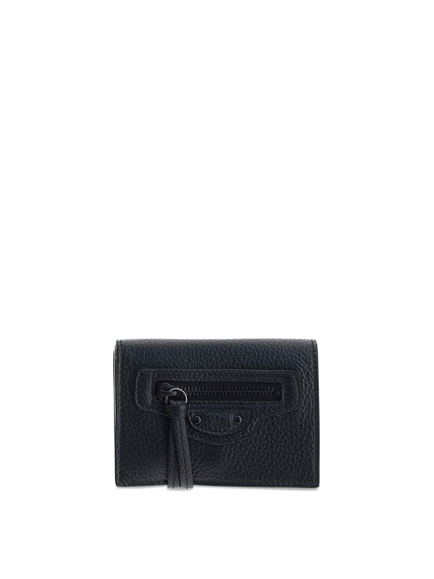 Balenciaga Wallets HAMMERED LEATHER TRIFOLD WALLET IN BLACK