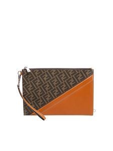 Fendi - Clutch con logo Fendi marrone