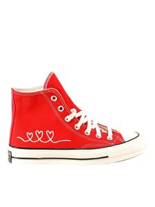Converse - Heart embroidery sneakers in red