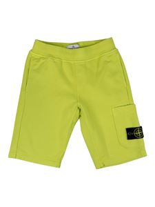 Stone Island Junior - Cotton bermuda shorts in yellow