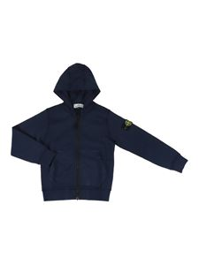 Stone Island Junior - Cotton hoodie in blue