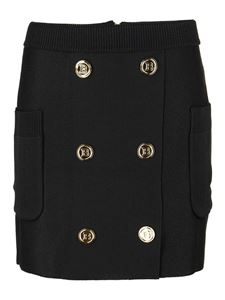 Balmain - Buttoned knitted viscose skirt
