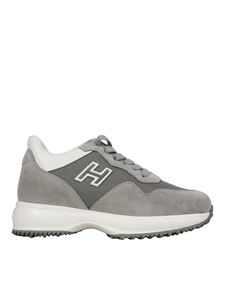 Hogan Junior - Interactive fabric and leather sneakers in grey