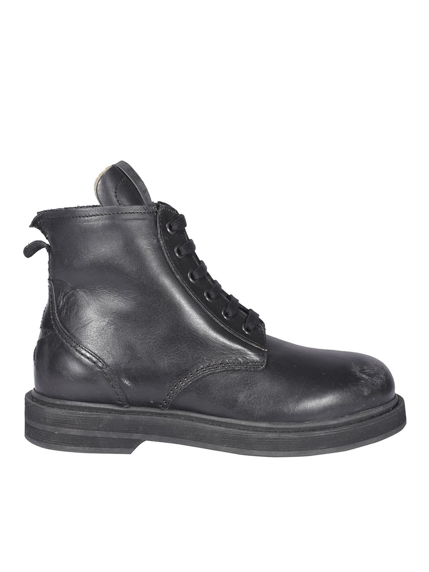 Golden Goose Leathers DISTRESSED EFFECT COMBAT BOOTS IN BLACK