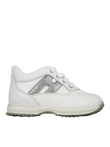 Hogan Junior - Interactive leather sneakers in white
