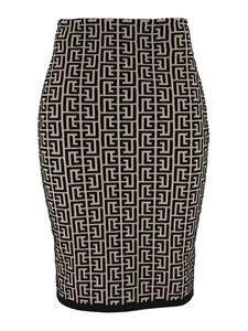 Balmain - Two-tone monogram skirt