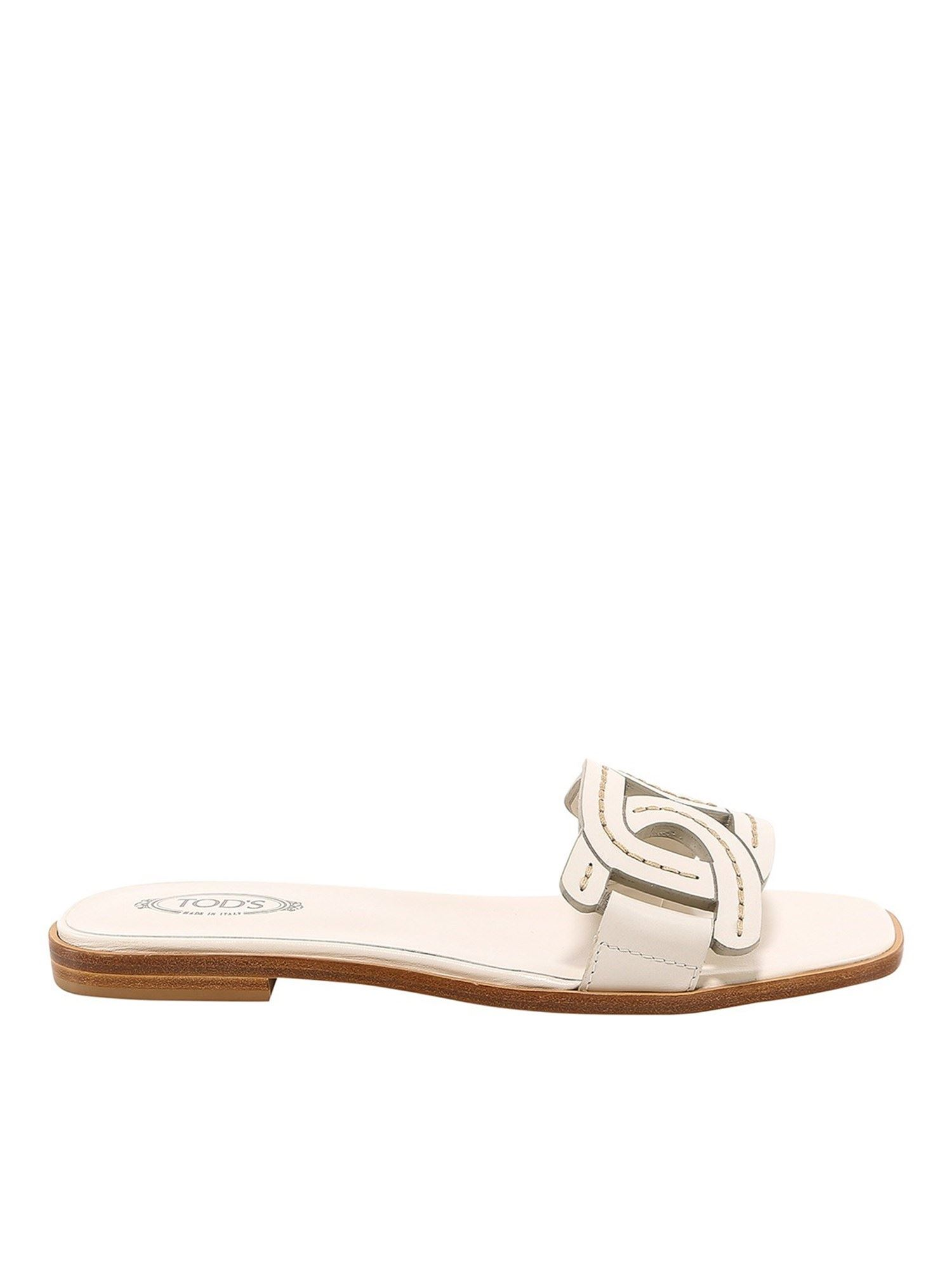 Tod's Leathers LEATHER FLAT MULES IN WHITE
