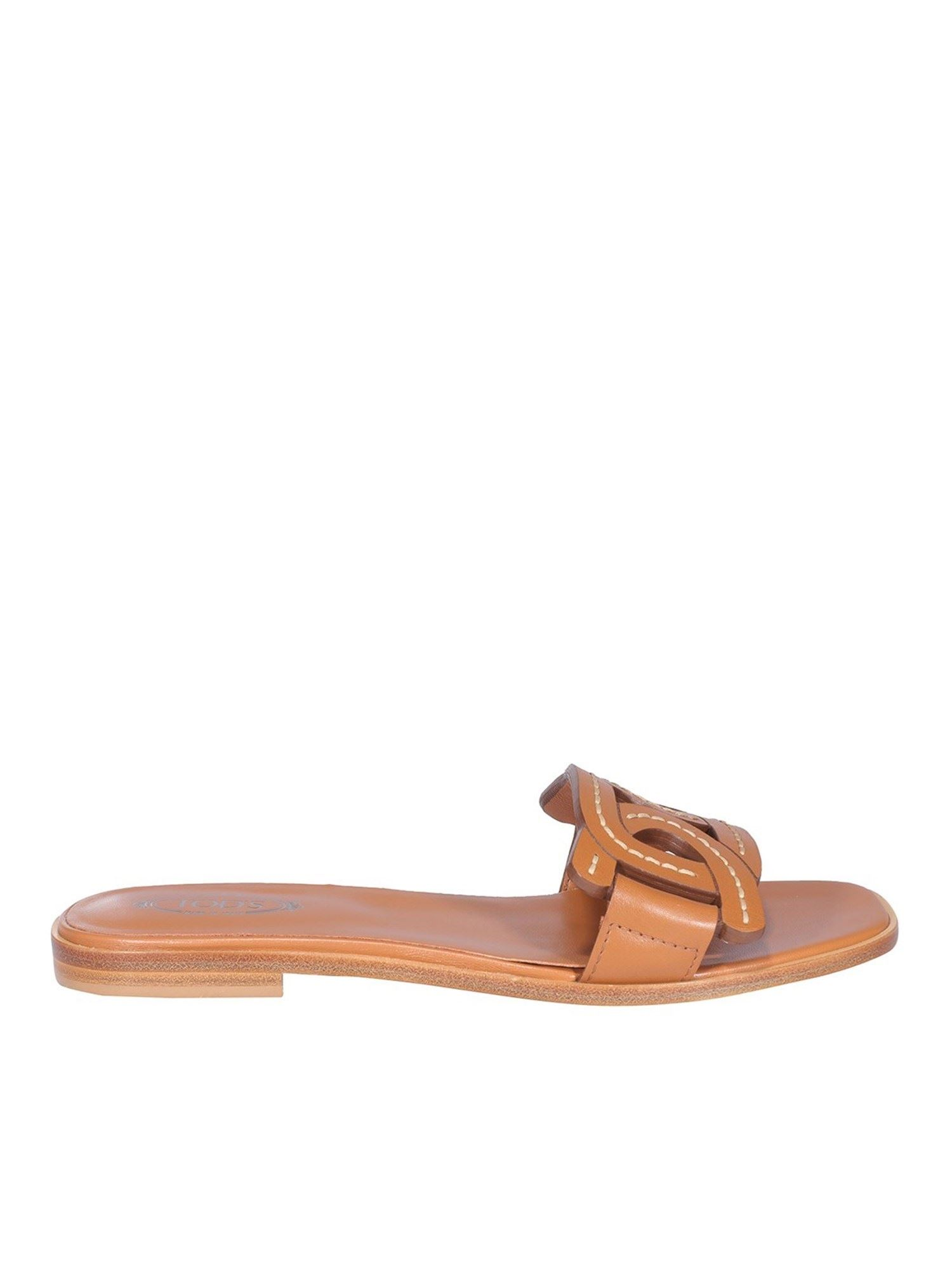 Tod's Leathers LEATHER FLAT MULES IN BROWN