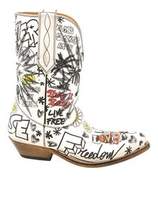 Golden Goose - Graffiti printed Western style boots in white