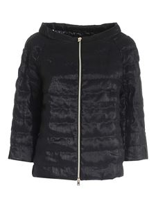 Herno - Quilted padded jacket in lamé black