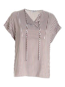 Peserico - Striped top in brown and and white