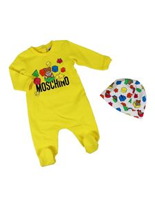 Moschino Kids - Teddy Bear romper with hat in yellow