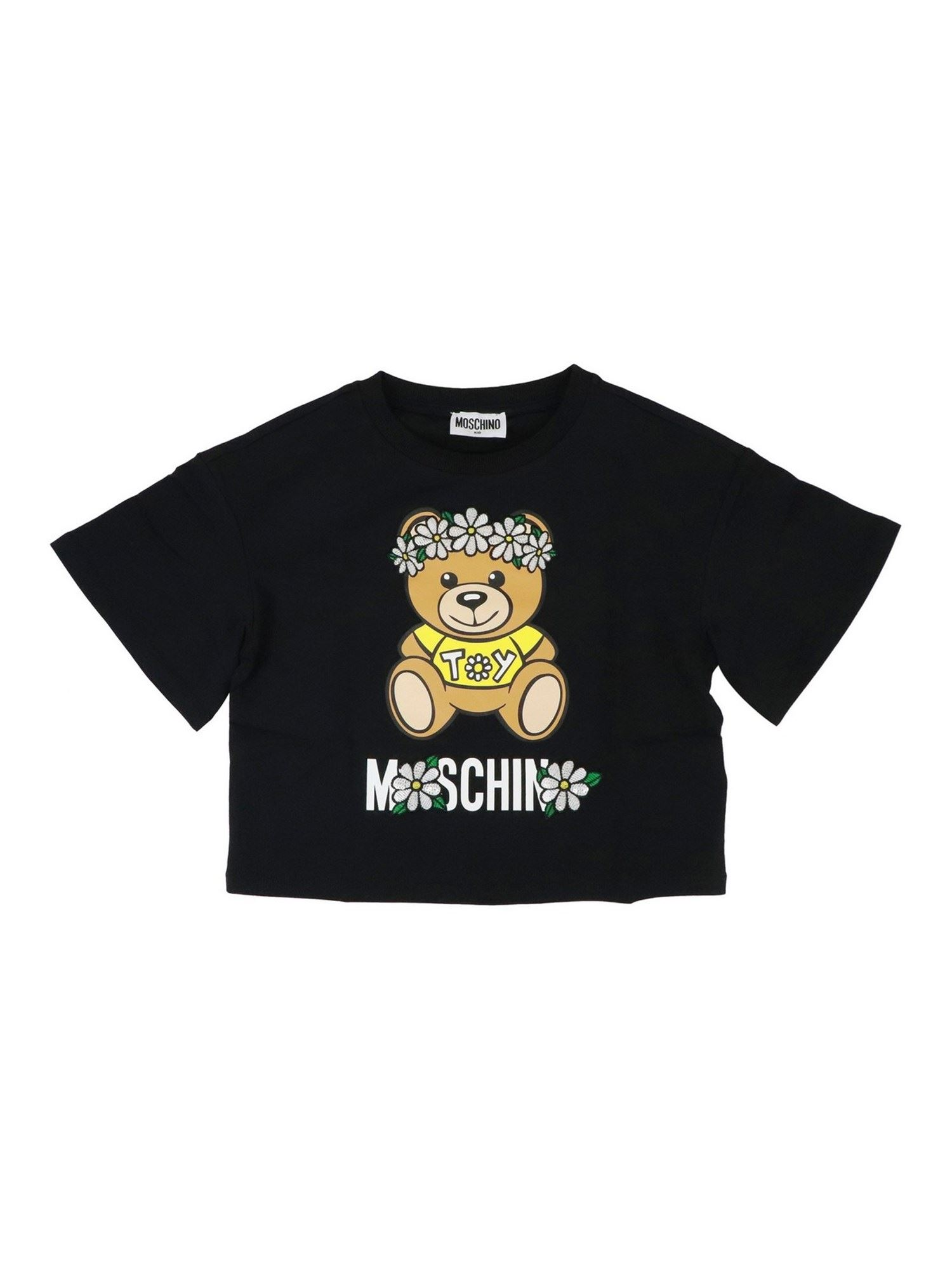 Moschino Kids' Daisy Teddy Bear T-shirt In Black
