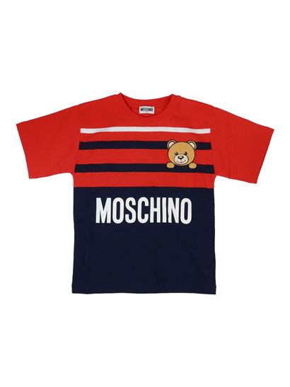 Moschino Kids - Teddy logo striped T-shirt in red and blue