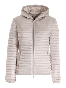 Save the duck - Patch puffer jacket in pearl grey