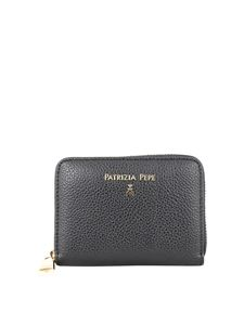 Patrizia Pepe - Zip-around grainy leather wallet in black